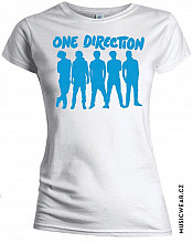 One Direction tričko, Silhouette Blue on White, dámské