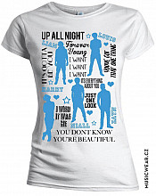 One Direction tričko, Silhouette Lyrics Blue on White, dámské