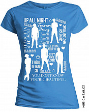 One Direction tričko, Silhouette Lyrics White on Blue, dámské