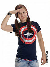 Captain America tričko, Distressed Shield Navy Girly, dámské
