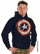 Captain America mikina, Distressed Shield Navy, pánská