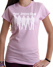 One Direction tričko, Silhouette White on Pink, dámské