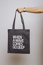 Lake Malawi Tote Bag, When A Wave (Dark Grey)