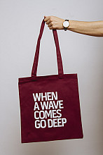 Lake Malawi Tote Bag, When A Wave (Burgundy)